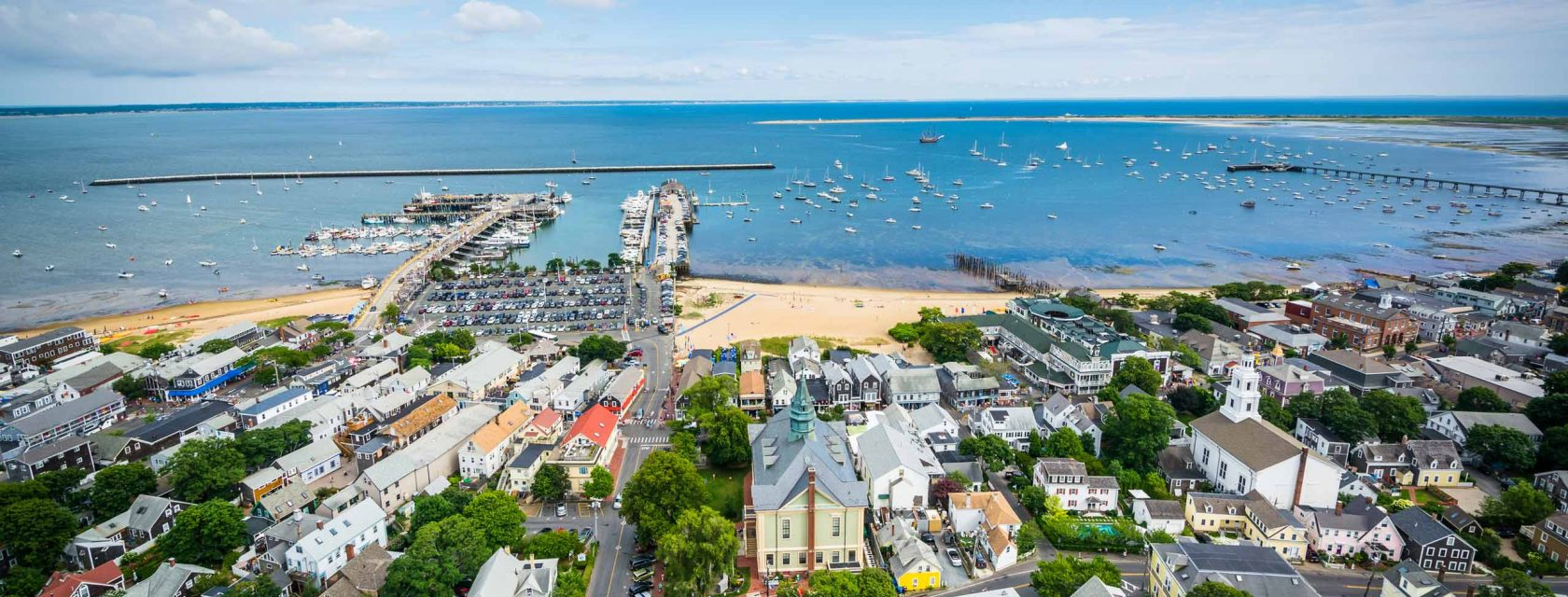 The view of Cape Cod bay from the Provincetown Monument on a beautiful summer day